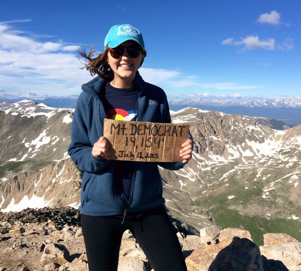 Kailee Caranta climbed her first 14er in 2015